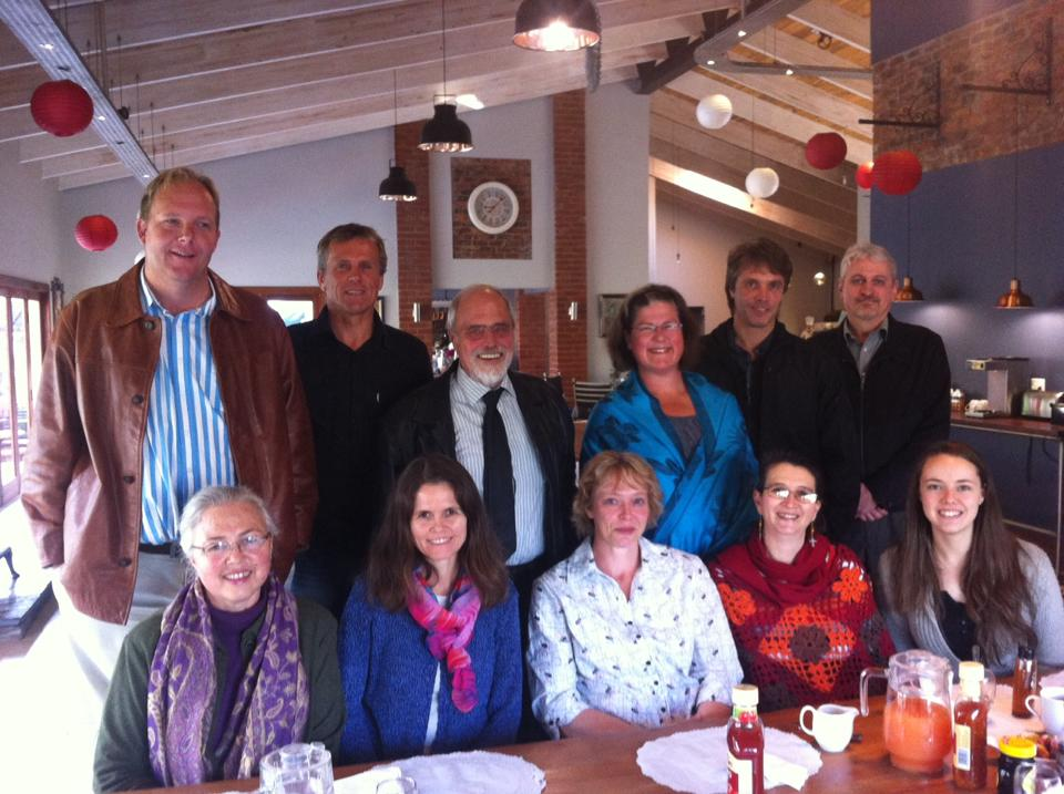 Representatives of the homeschooling community met before meeting with the DBE in Pretoria in July 2015 Back row: Victor Sabbe (Cape Home Educators), Johan Heckroodt (Cape Home Educators), Leendert van Oostrum (Pestalozzi Trust), Joy Leavesley (Independent homeschooling mother), Niell Bester (Gauteng Association for Home Schooling), Jacs Lemmer (Gauteng Association for Home Schooling). Front row: Karin van Oostrum (Pestalozzi Trust), Shirley Erwee (Pestalozzi Trust), Elize van der Merwe (KZN Homeschooling Association), Marie Kuhlmann (Eastern Cape Home Schooling Association), Adriel Kohn (homeschooling alumna)